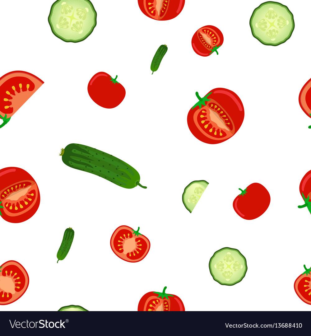 Seamless pattern of ripe cucumbers and tomato