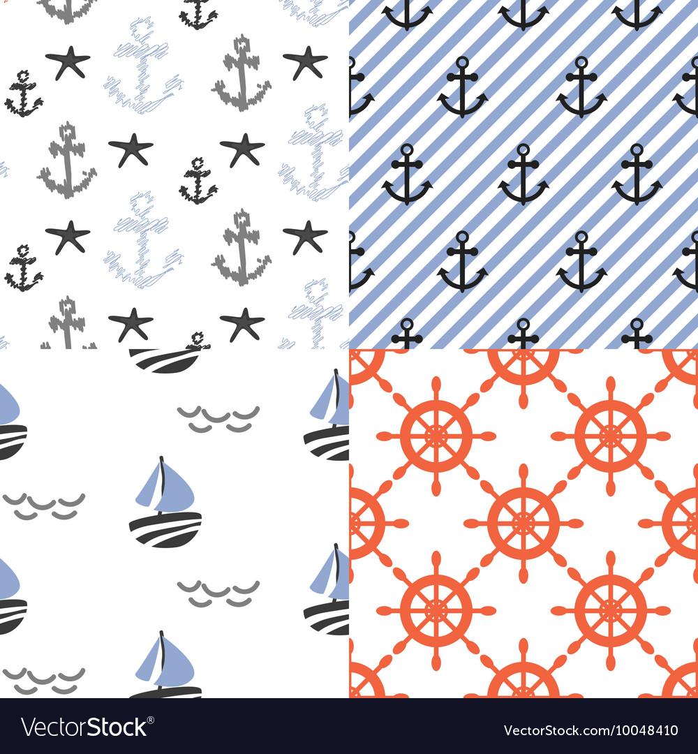 Seamless pattern set with nautical sailor