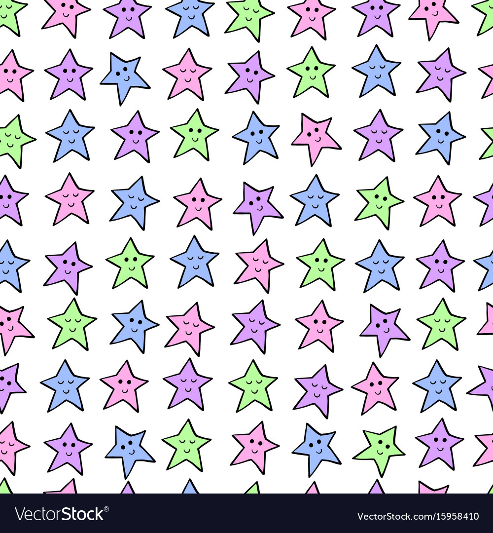 Seamless pattern with colored cartoon stars