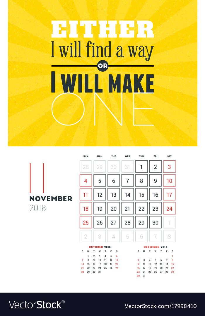 Wall Calendar Template For November 2018 Design Vector Image