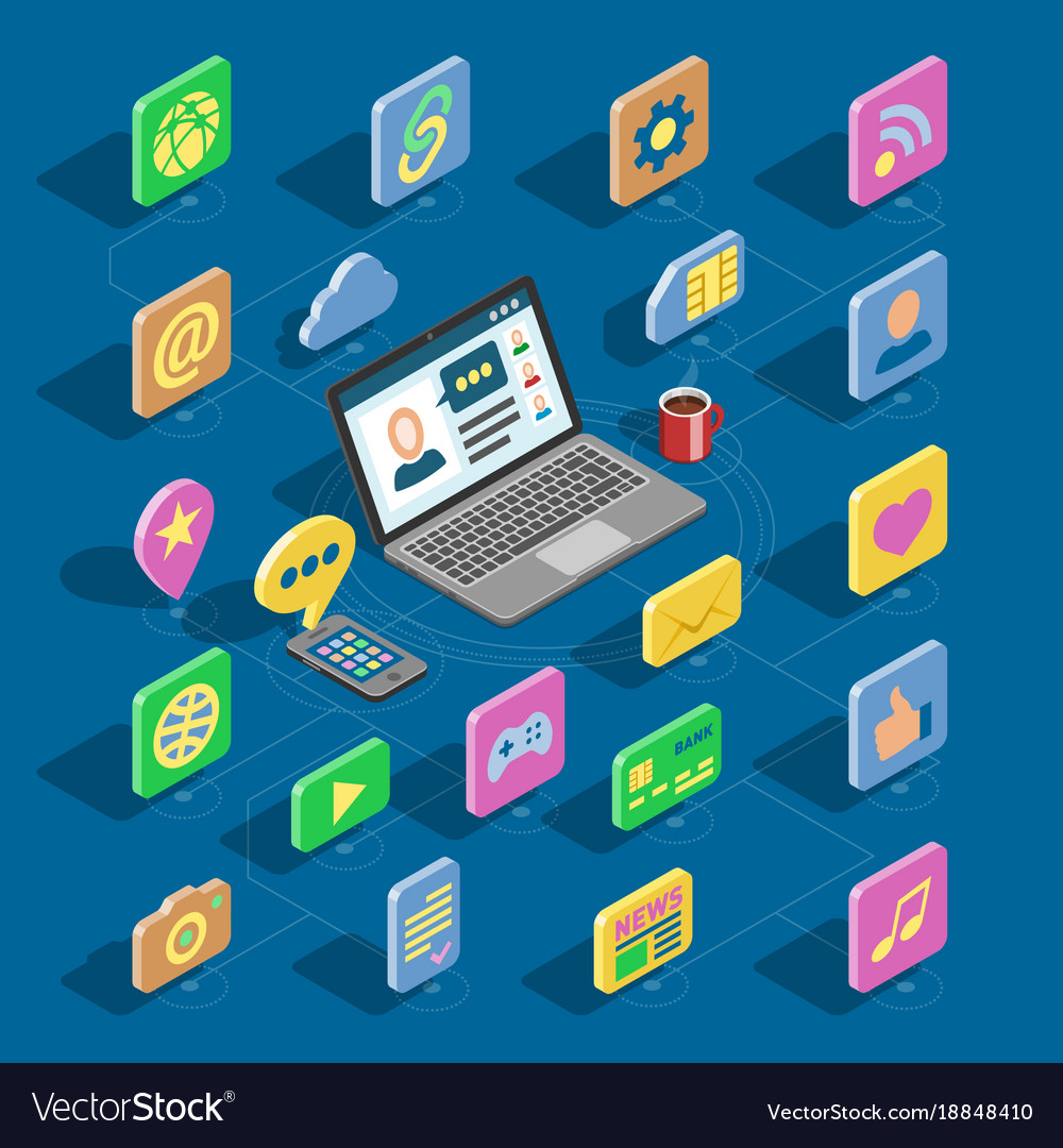 Web isometric icons 3d office collection vector image