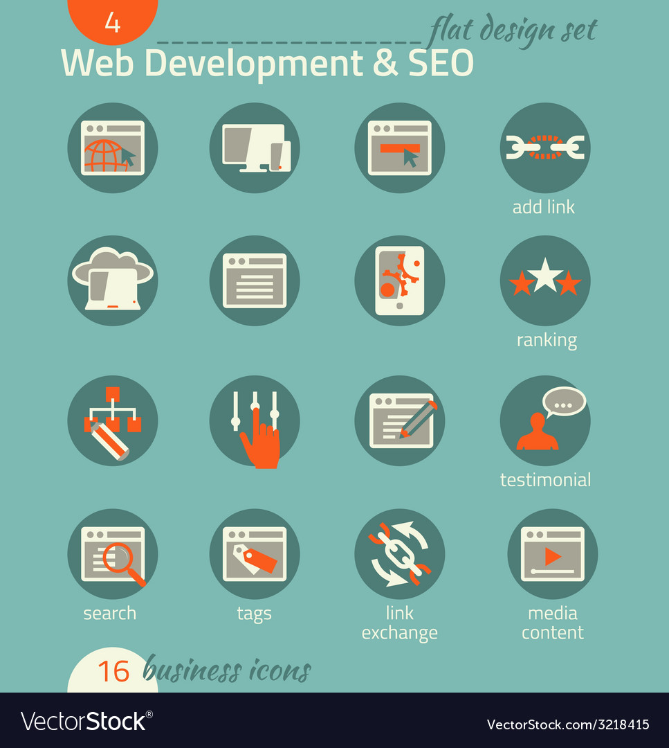 Business icon set Software and web development SEO