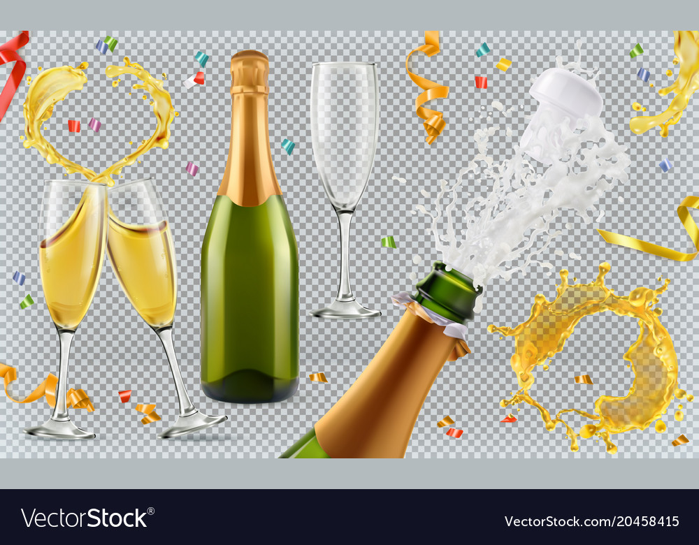 Champagne glasses bottle splash 3d realistic icon vector image