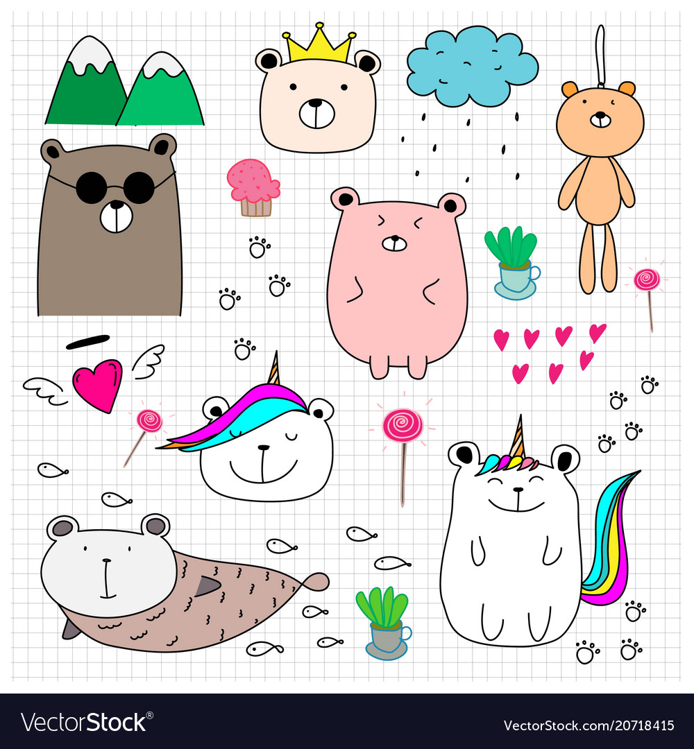 Doodle cute bear set