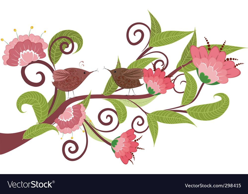 Flower with birds