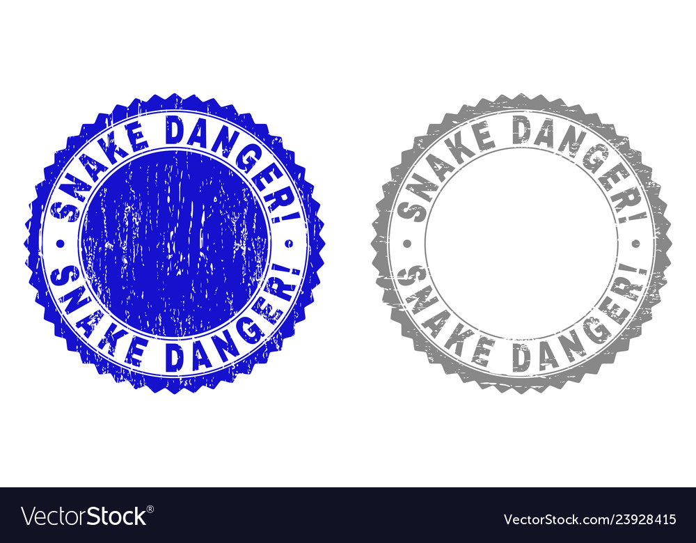 Grunge snake danger exclamation scratched stamps
