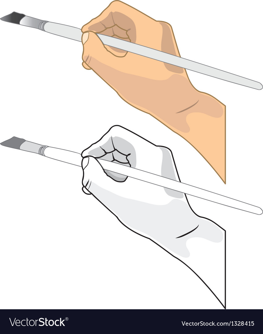Hand holding a paint brush vector image
