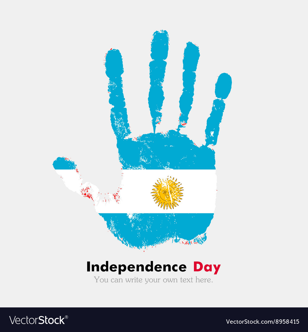 Handprint With The Flag Of Argentina In Grunge
