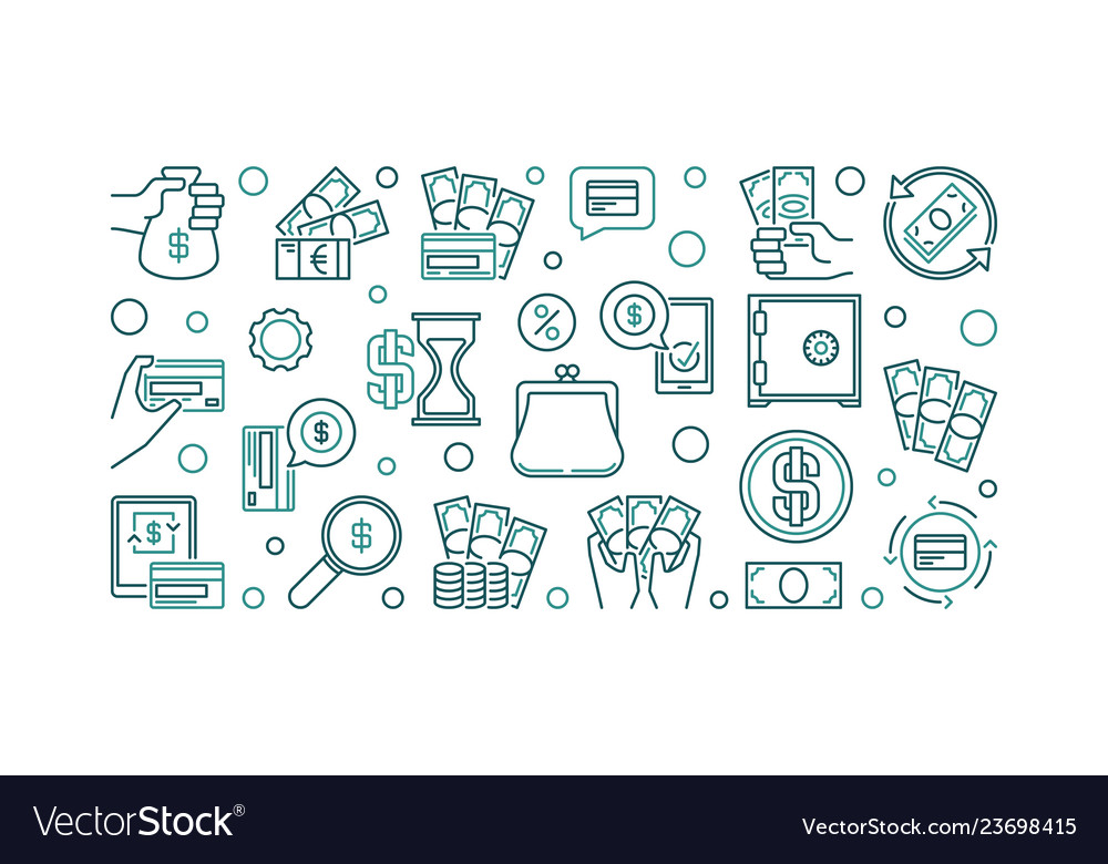 Money concept outline horizontal