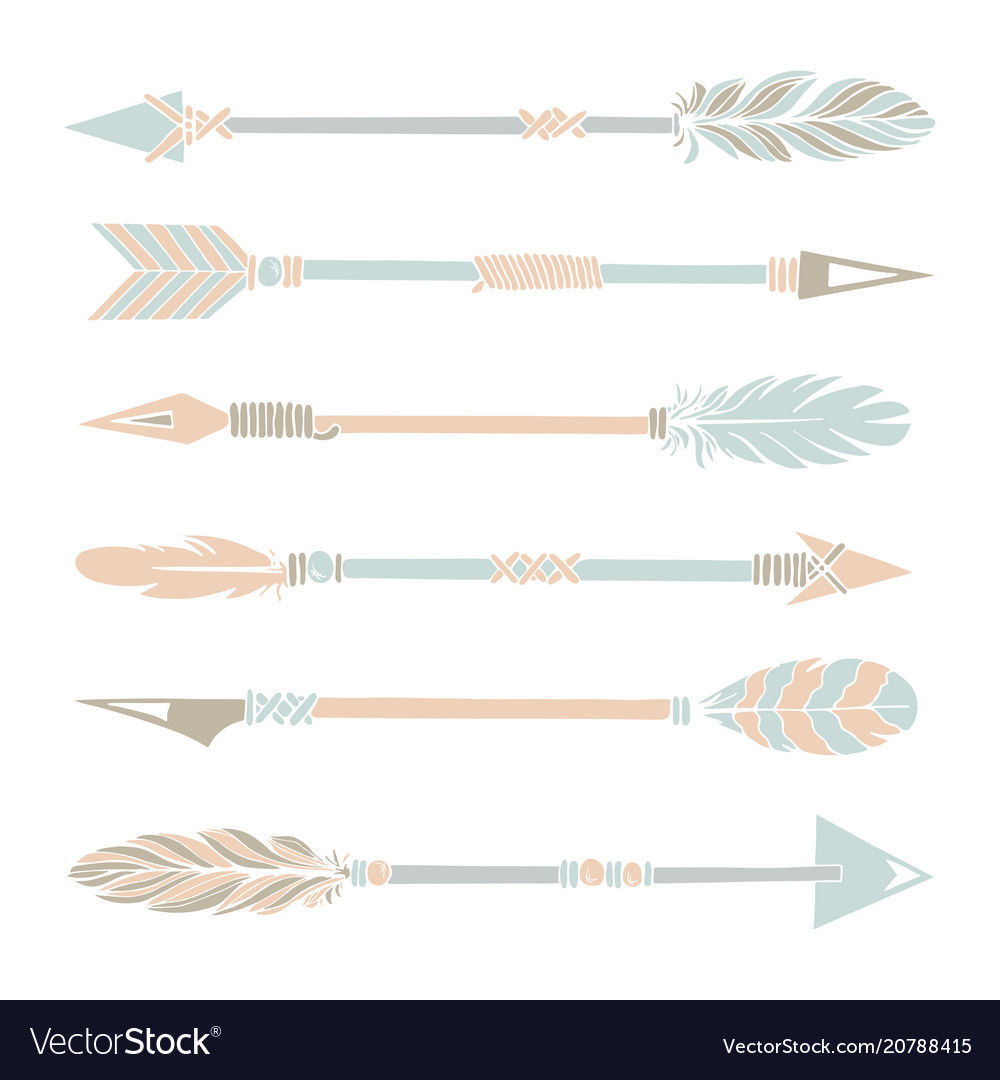 Tribal indian arrow set colorful ethnic hand draw