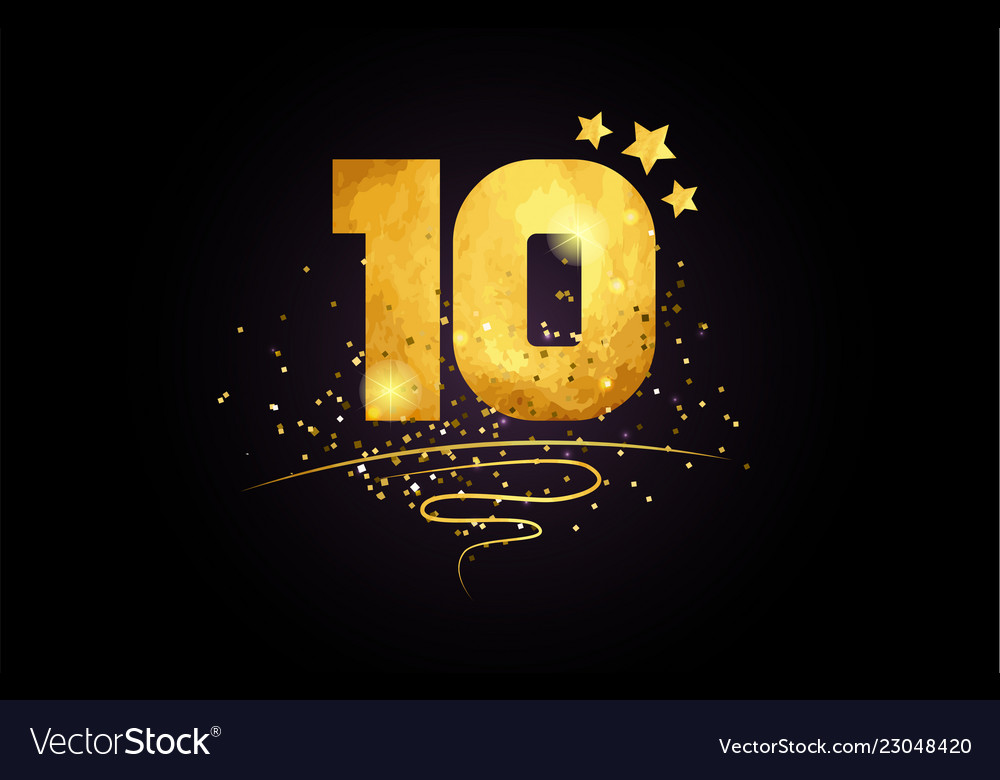 10 ten number icon design with golden star and