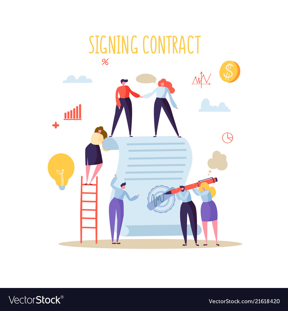Business characters signing agreement flat people