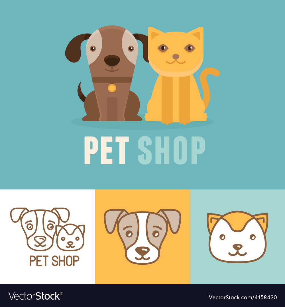 Dog and cat icons and logos