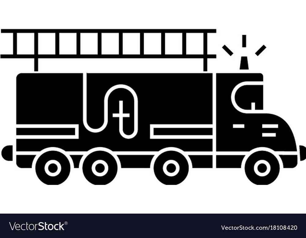 Fire engine - car icon black