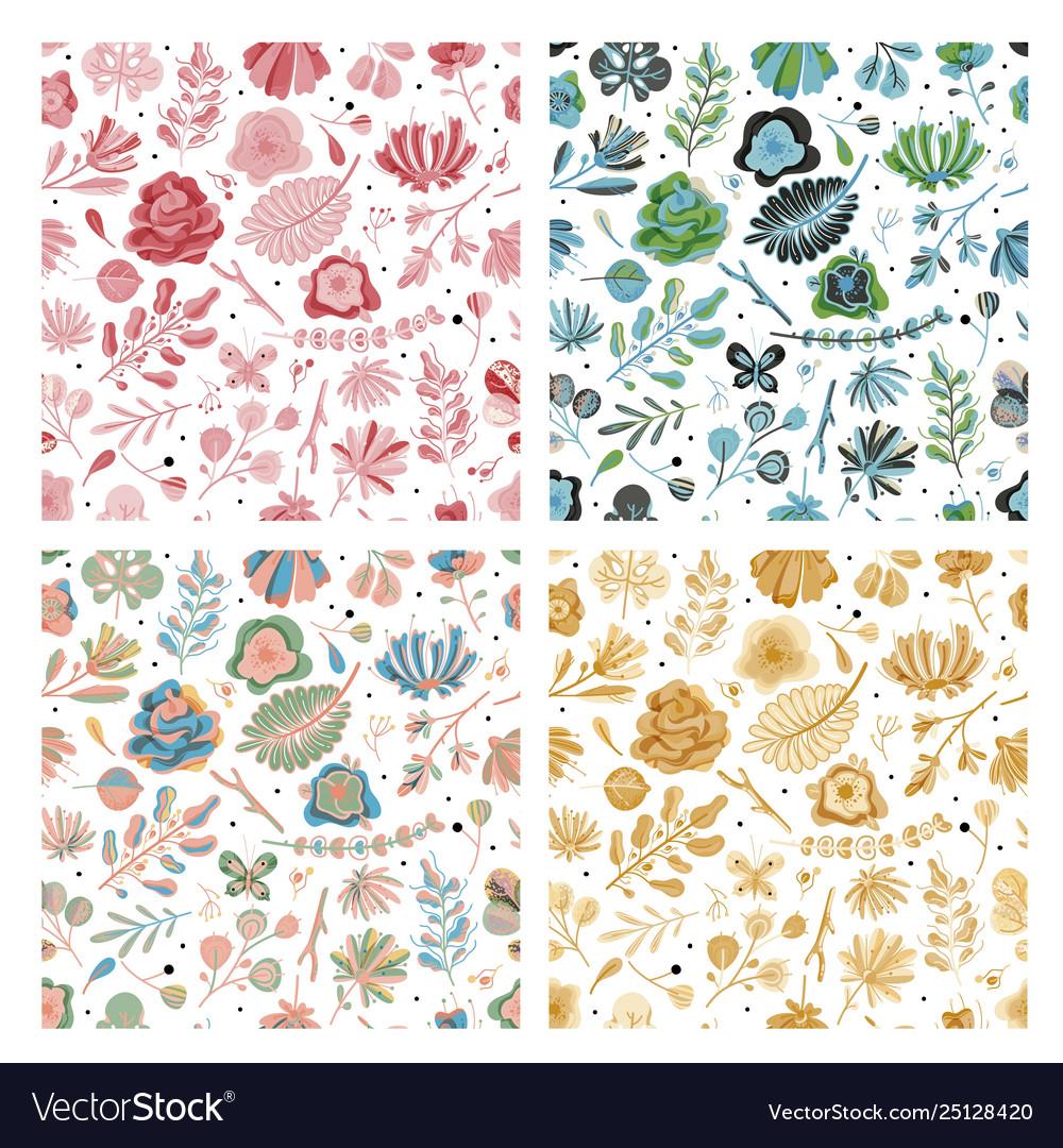 Floral seamless pattern set floral spring summer