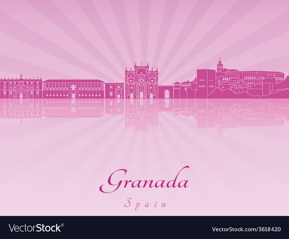 Granada skyline in purple radiant orchid