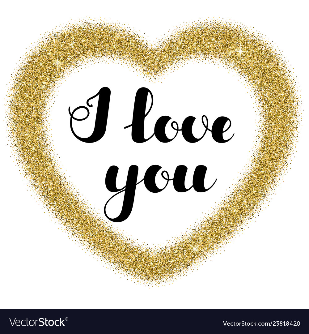 Lettering I Love You In Frame Heart Shape From