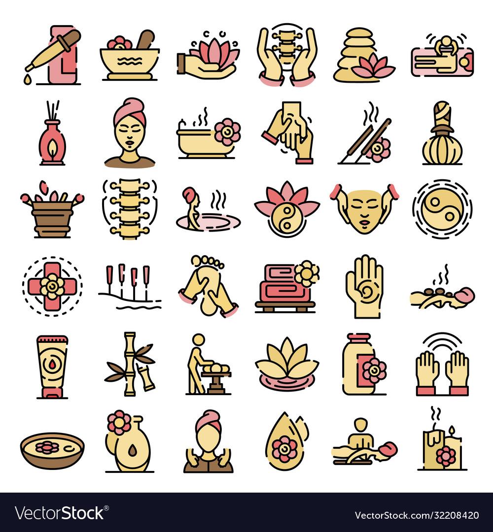 Massage icons flat