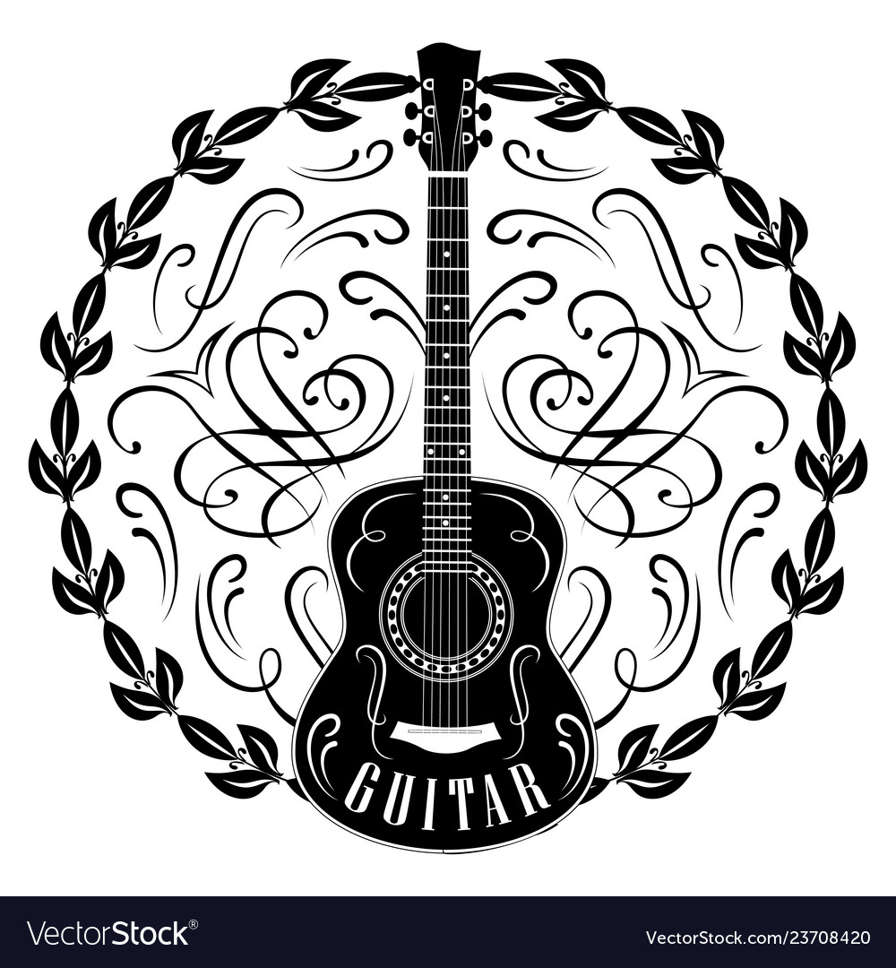 Monochrome pattern with guitar and wreath