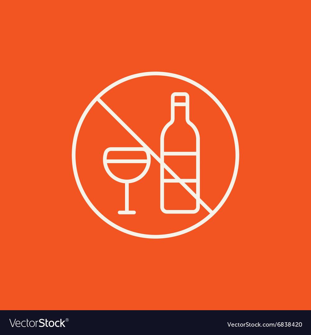 No alcohol sign line icon