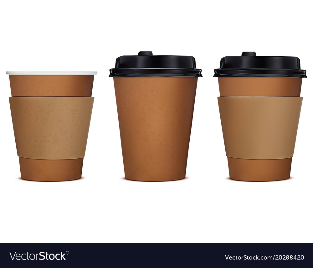 Paper cup of coffee set 3d