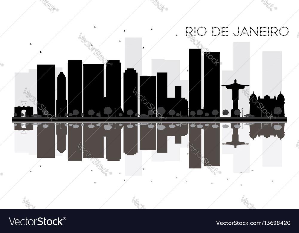 Rio de janeiro city skyline black and white