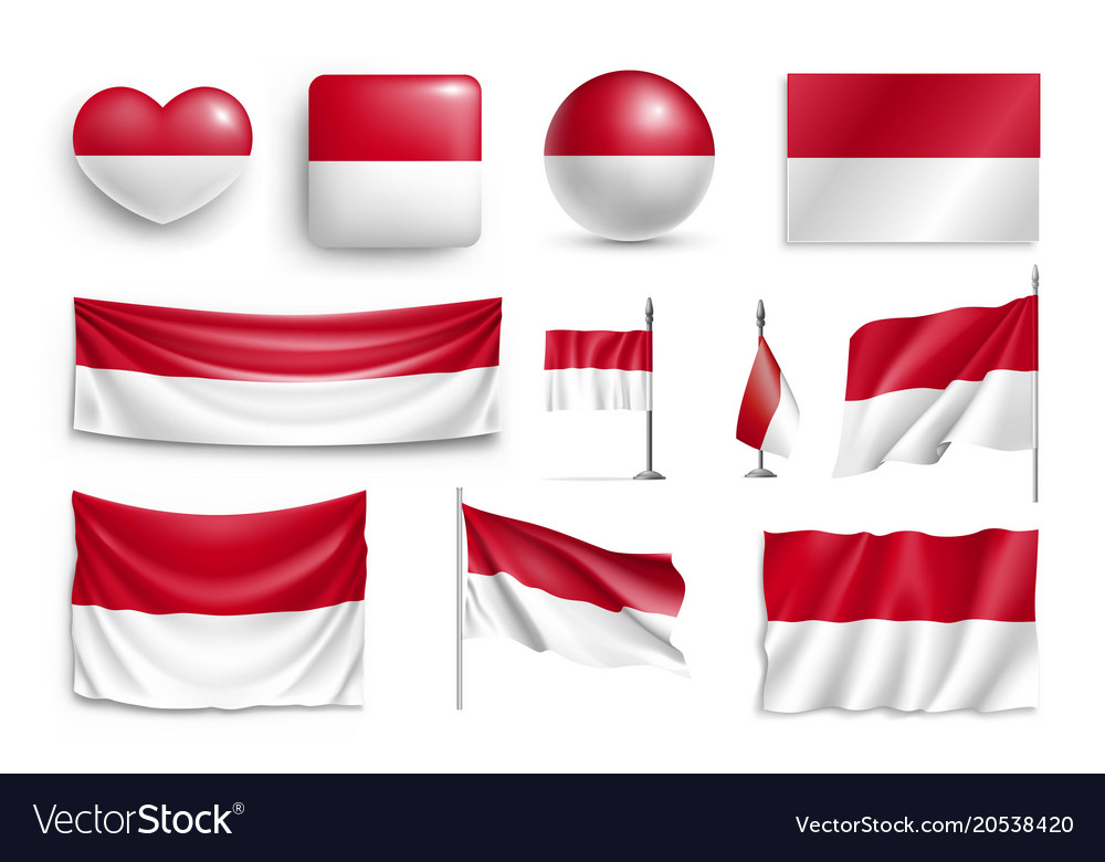 Set indonesia flags banners banners symbols
