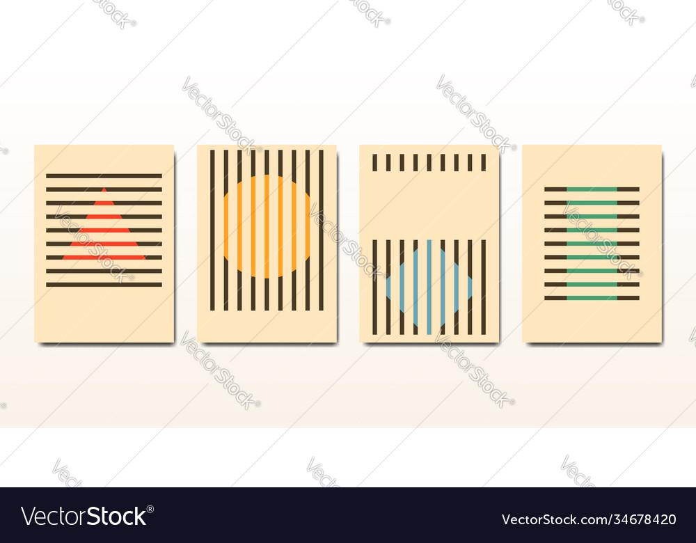 Set minimal 20s vintage geometric design bauhaus