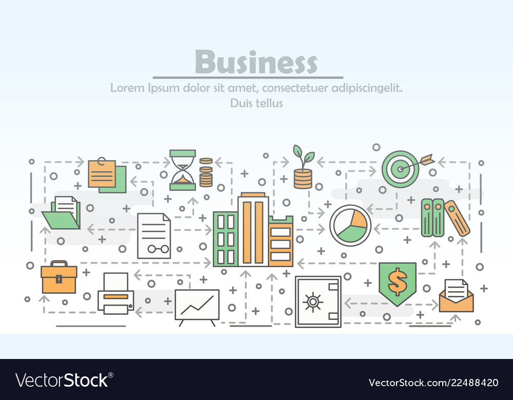 Thin line art business poster banner