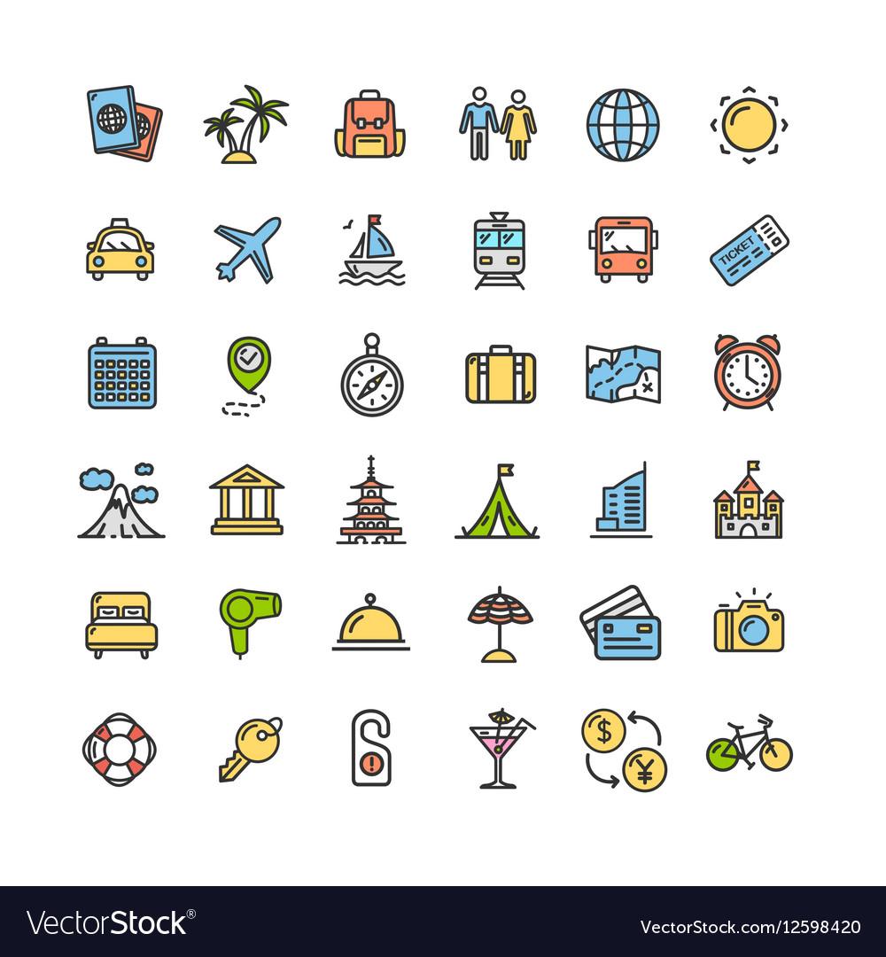 Travel Icon Thin Line Set