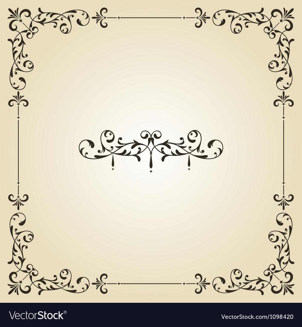 Vintage floral frame and retro royal label vector image