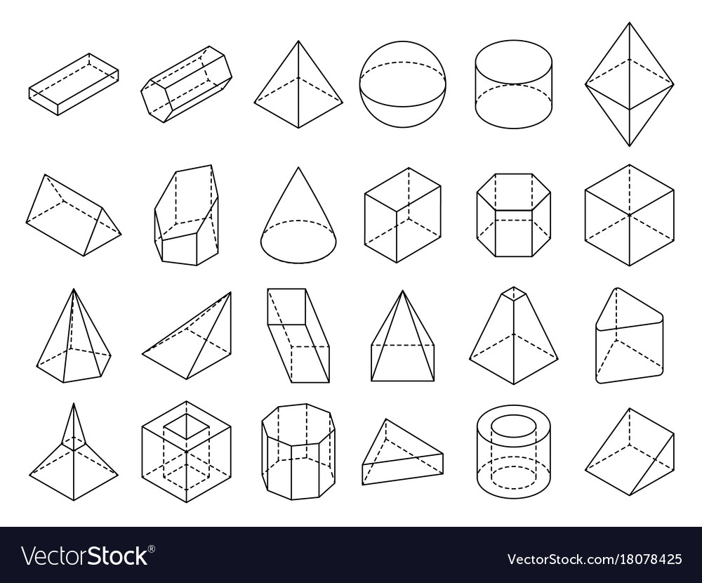 Abstract isometric 3d geometric outline shapes