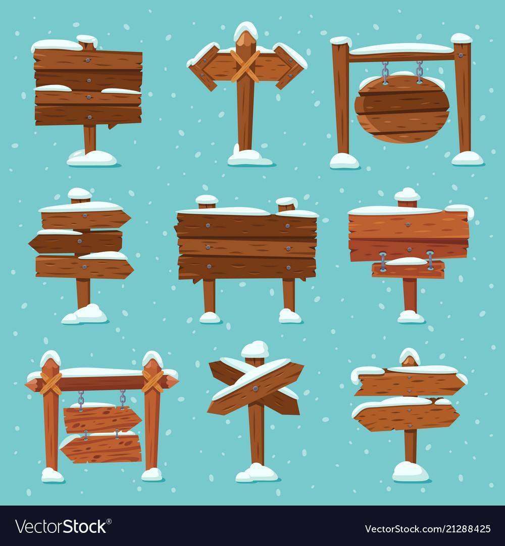 Cartoon snowed signpost christmas wooden signpost