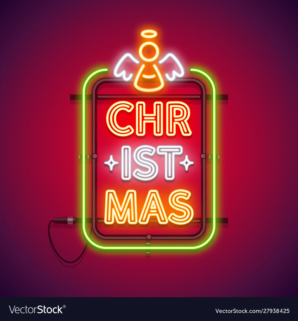 Christmas vertical neon sign red with angel