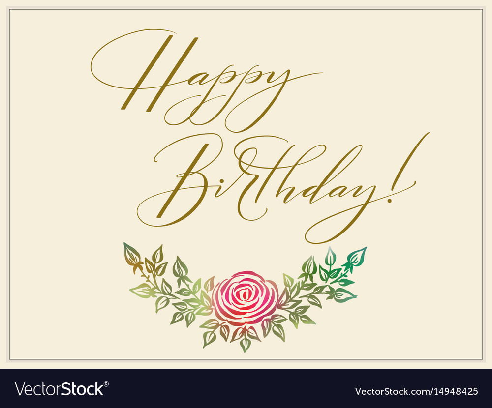 Elegant Happy Birthday Card Royalty Free Vector Image