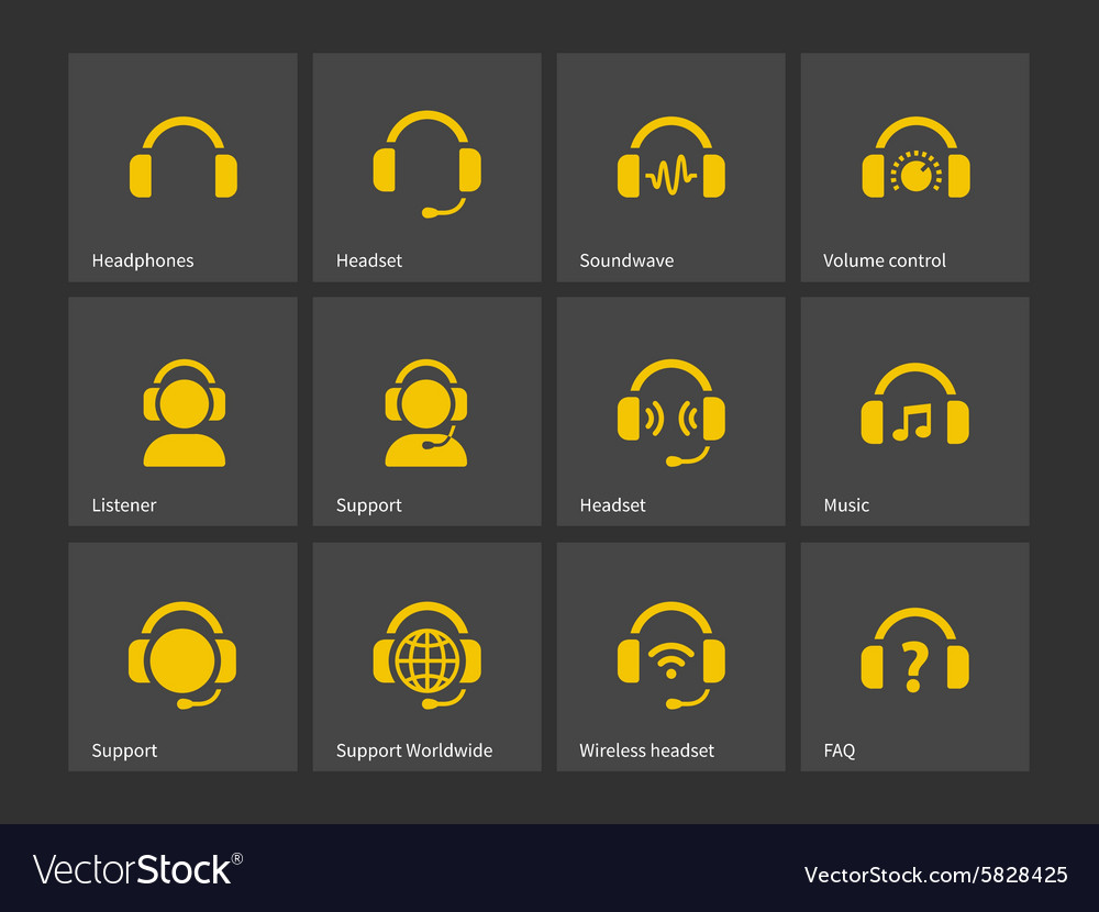 Headphones and support icons