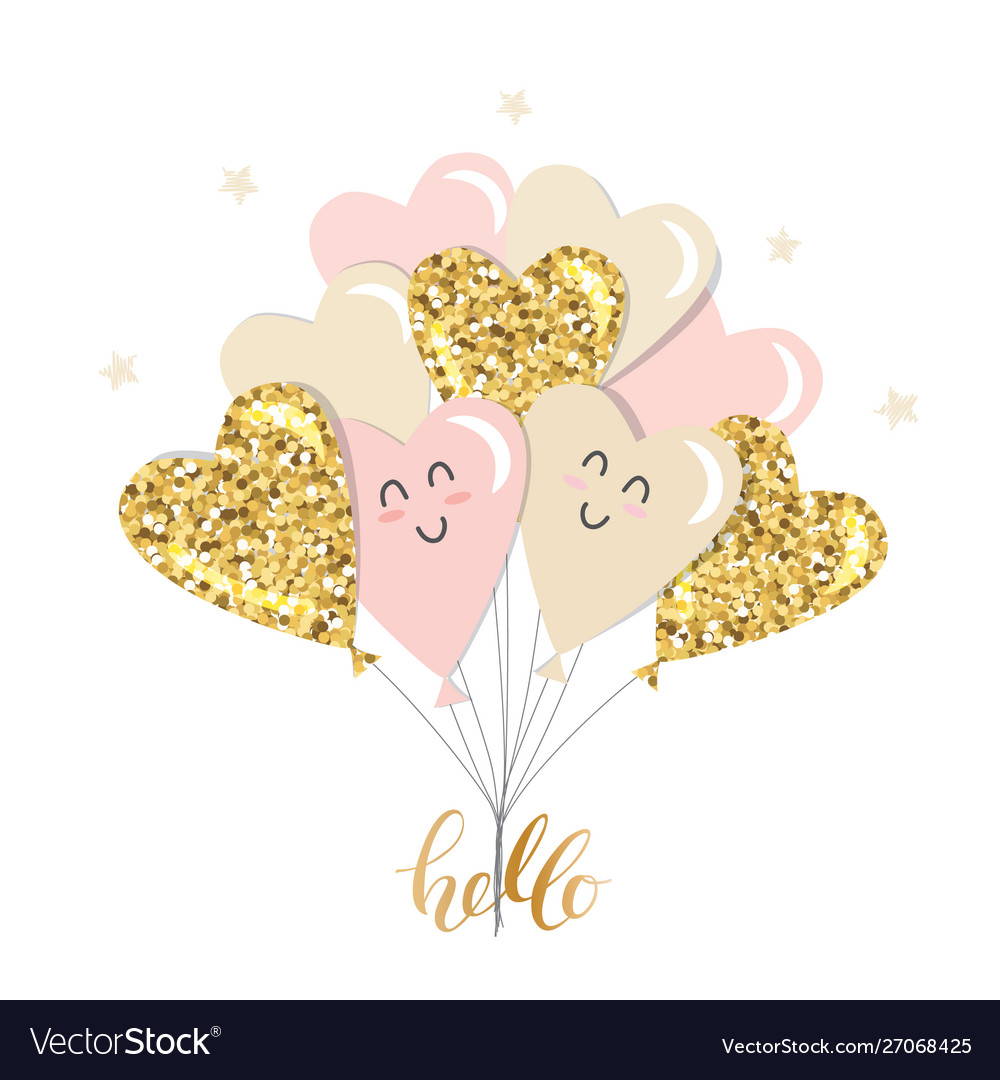 Kawaii heart balloons brunch girly gold glitter