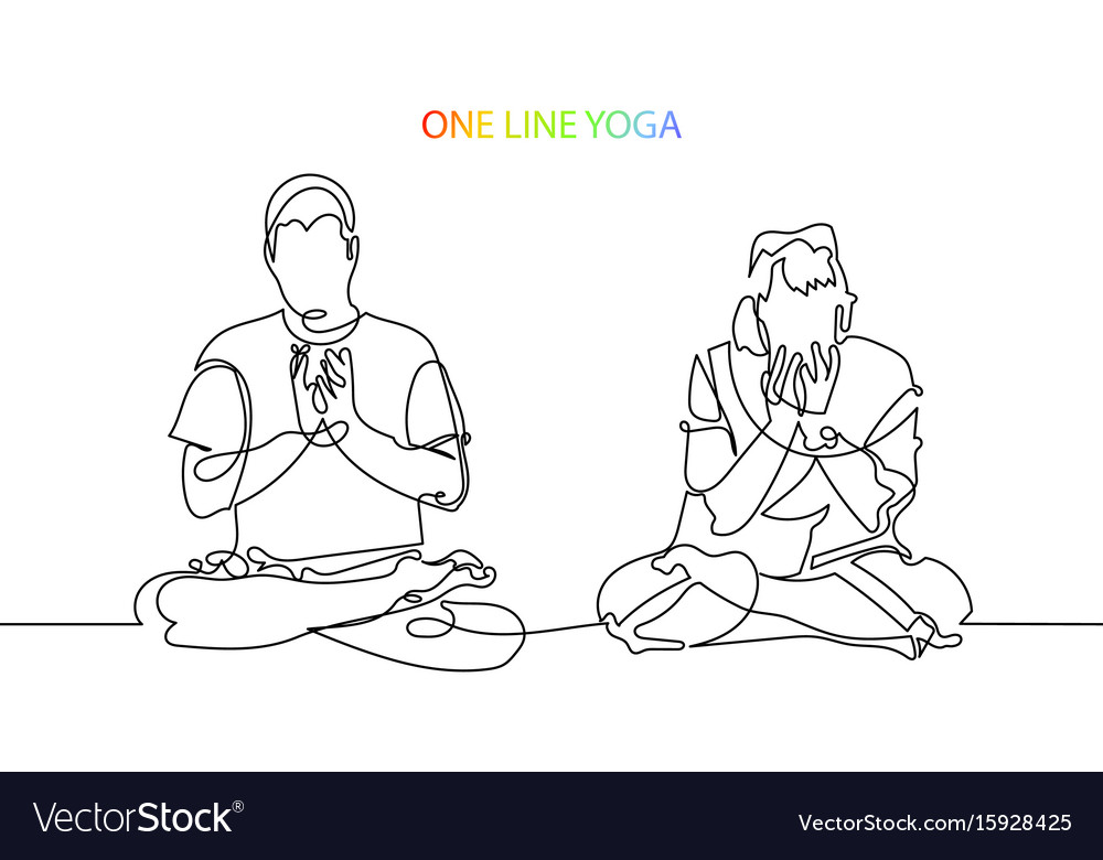Man and woman meditate in lotus position lineart