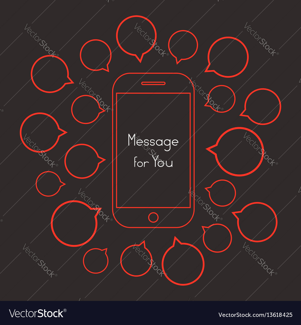 Message for you with red smartphone and speech