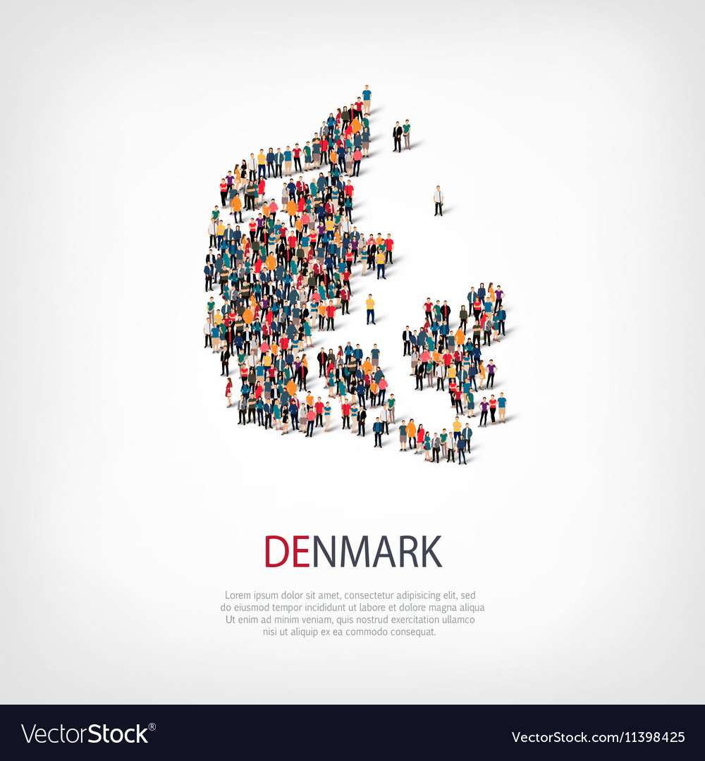 People map country Denmark Royalty Free Vector Image on