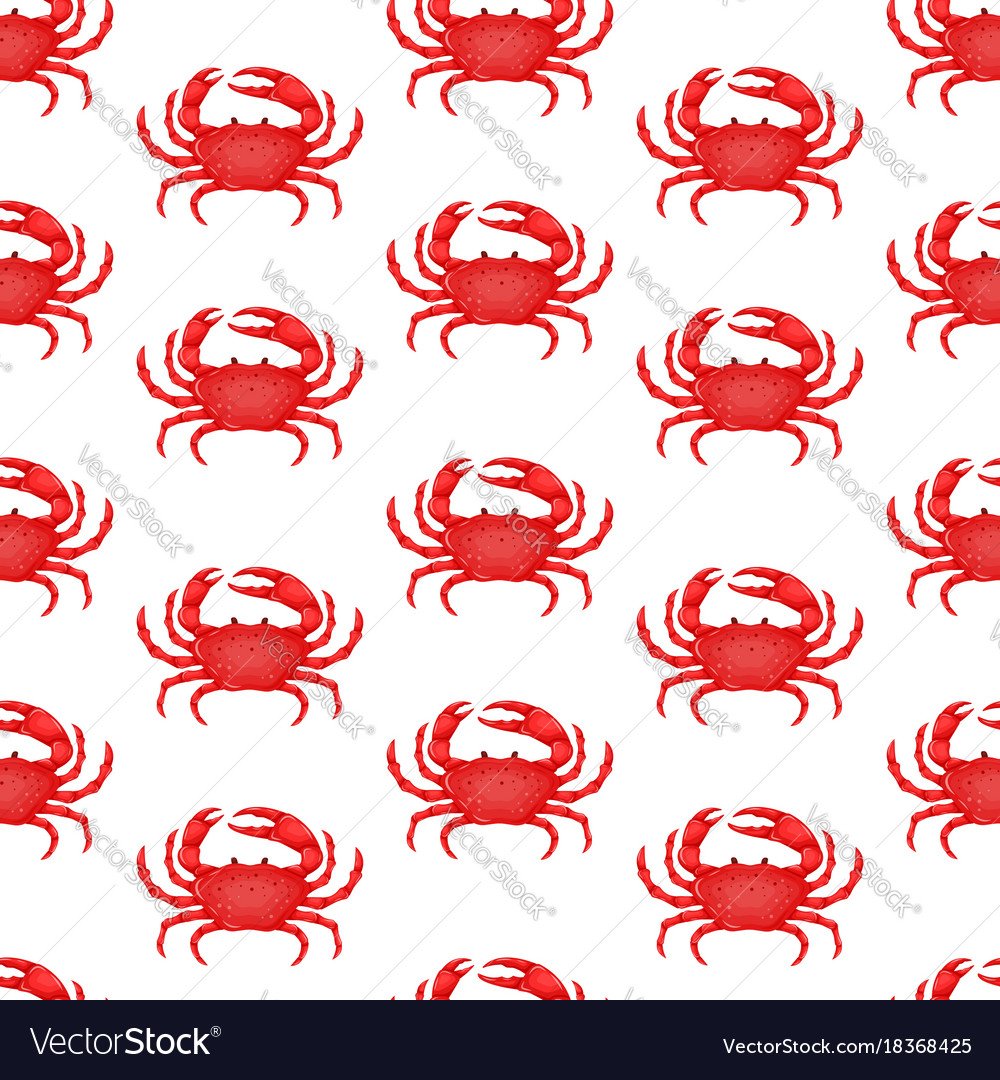 Seamless pattern with flat red crab isolated on