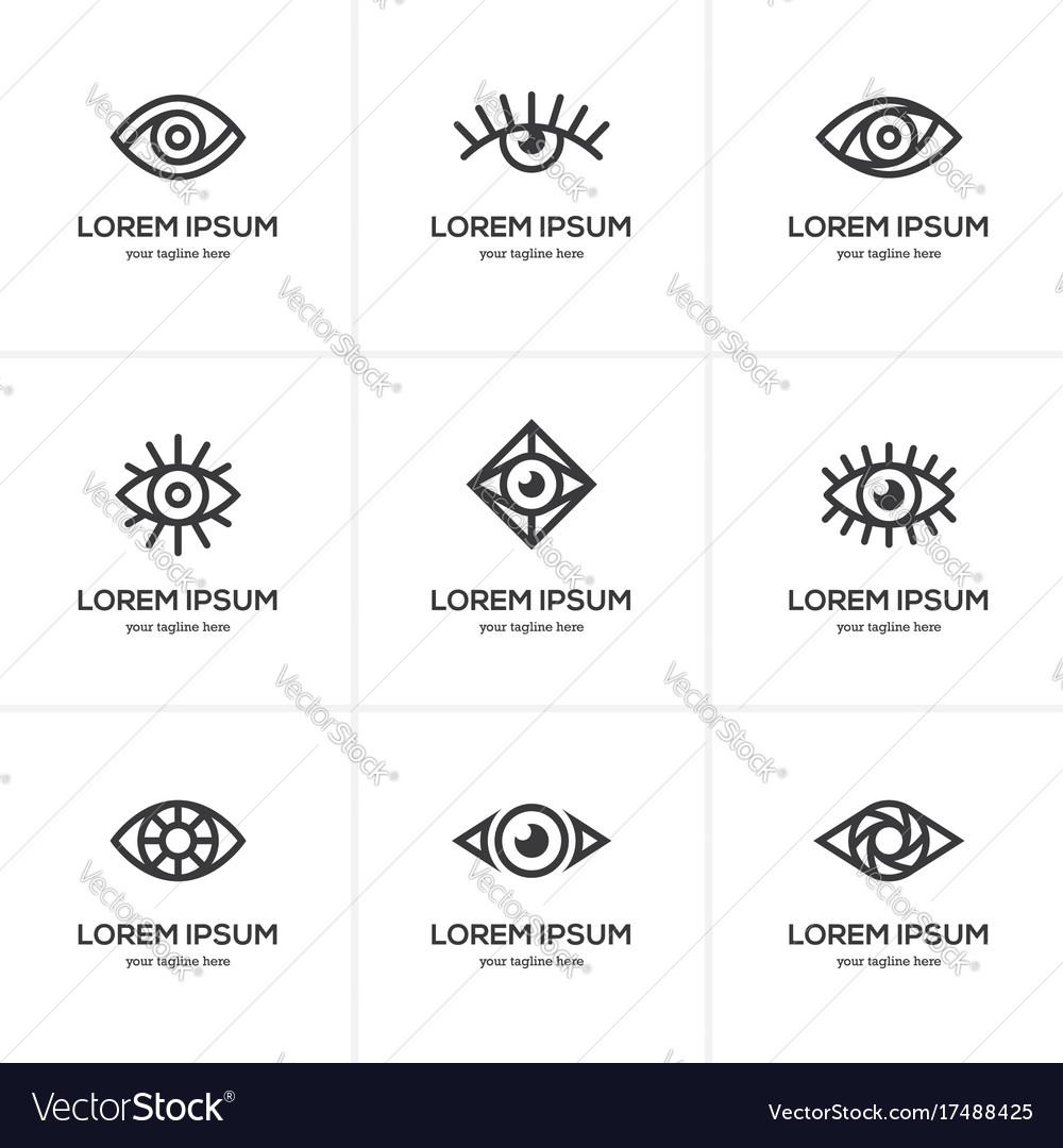 Set of black linear eye icons