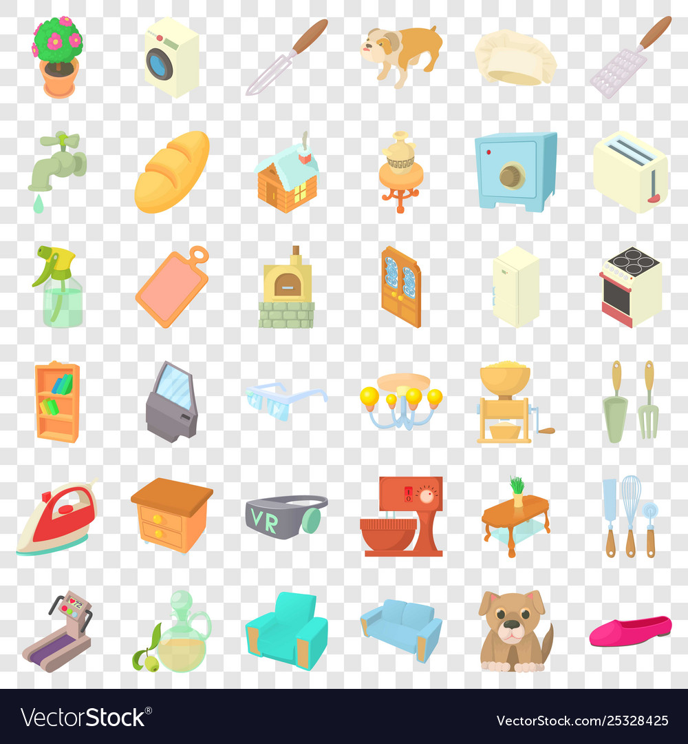 Sweet home icons set cartoon style