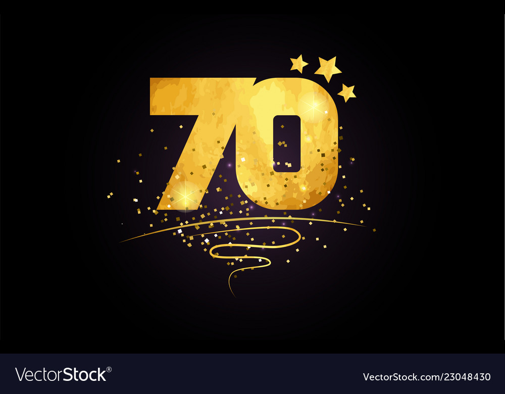 70 number icon design with golden star and glitter