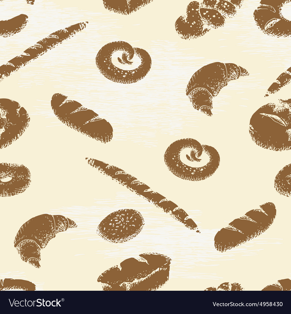 Bakery seamless pattern vector image