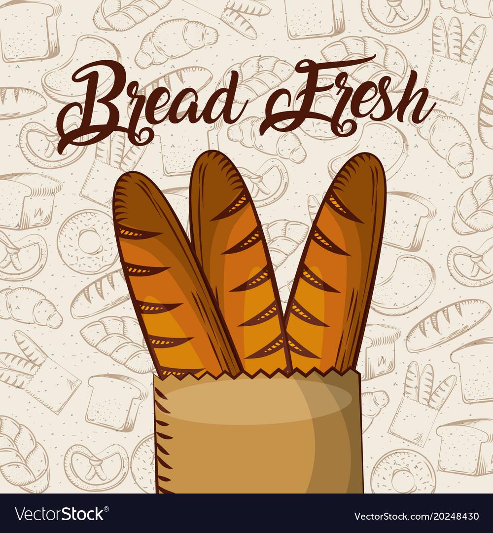 Bread Fresh Baguette In Paper Bag Bakery Vector Image