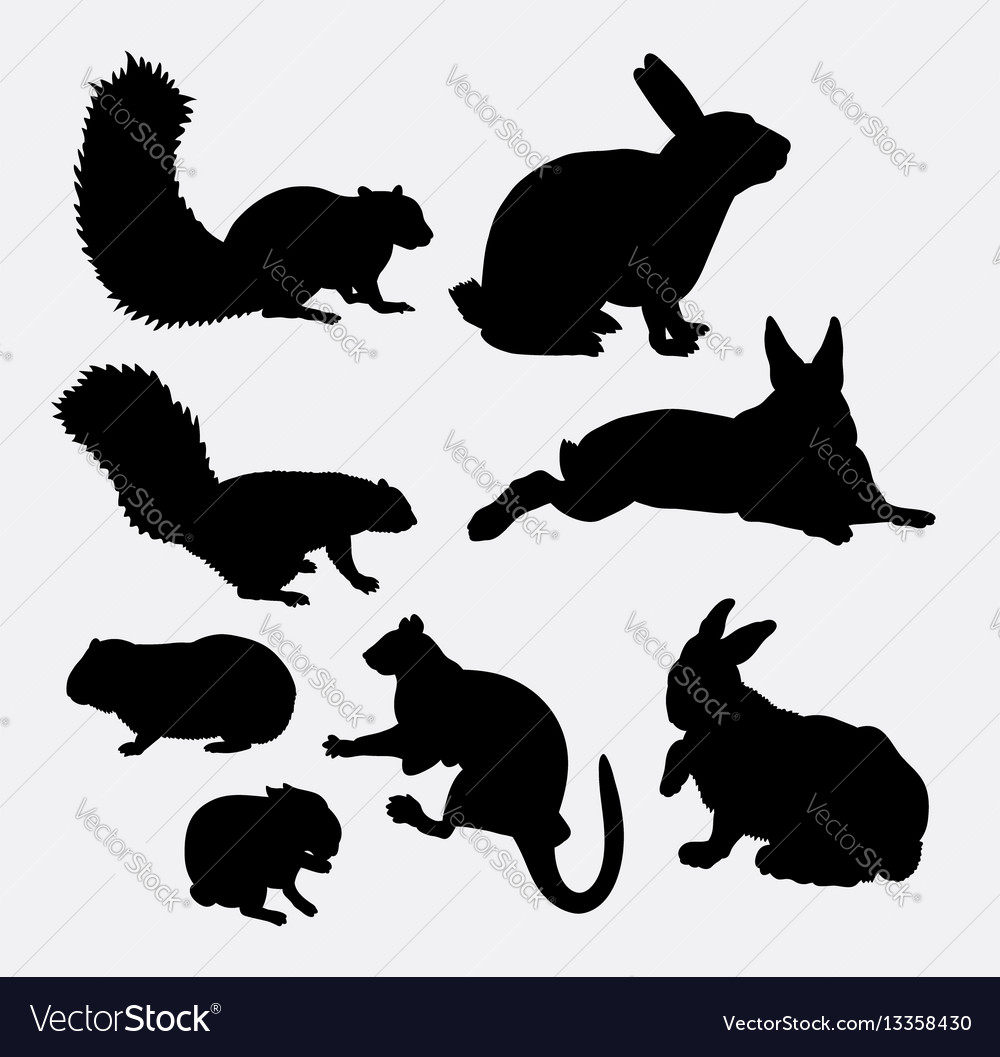 Bunny and squirrel mammal animal silhouette