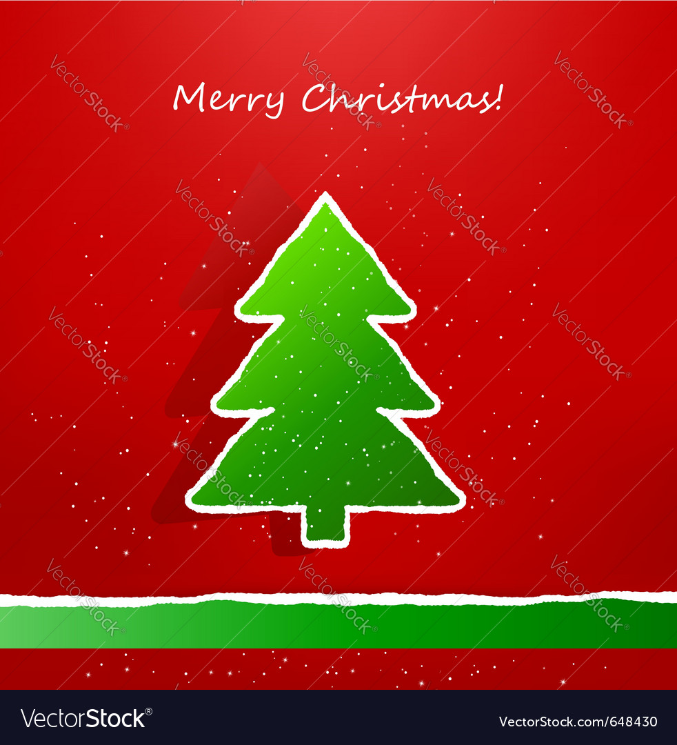 Christmas card with ripped paper tree Royalty Free Vector