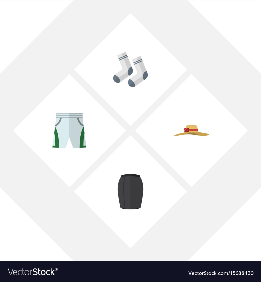 Flat icon clothes set of elegant headgear foot