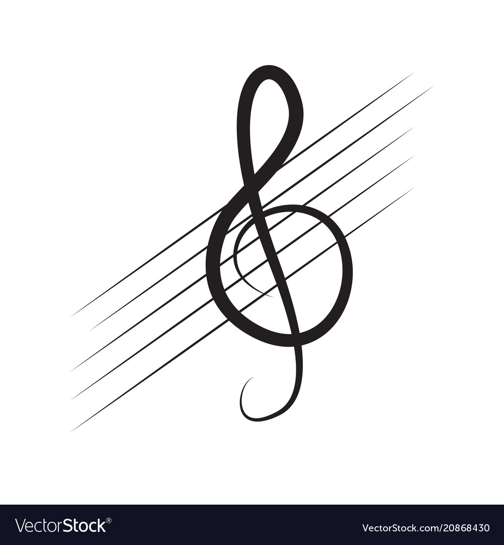 Isolated Treble Clef Note On A Pentagram Vector Image